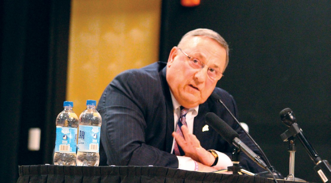 Gov. Paul LePage, seen here at a town hall meeting in Biddeford Tuesday, vetoed a bill designed to help Maine's financially ailing county jails, including York County Jail. But with unanimous passage in the Senate and a strong 115-32 showing in the House, an override seems likely.