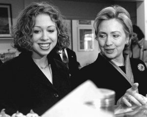 THEN-SENATE CANDIDATE Hillary Clinton, right, and her daughter, Chelsea, look over pastries at the Florentine Pastry Shop in Utica, New York, is a 2000 file photo.