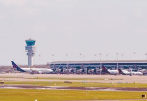 THREE BRUSSELS AIRLINES PLANES stand at departure gates at Brussels Airport, in Zaventem, Belgium, Sunday. Under extra security, three Brussels Airlines flights, the first for Faro in Portugal, are scheduled to leave Sunday from an airport that used to handle about 600 flights a day.