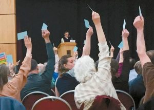 DURHAM RESIDENTS vote during Town Meeting on Saturday.
