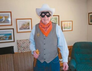 CLAUDE BONANG models his Lone Ranger costume that he plans to wear for Midcoast Maine's Got Talent Friday.