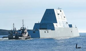 THE FIRST ZUMWALT-CLASS DESTROYER is shown during sea trials in December.
