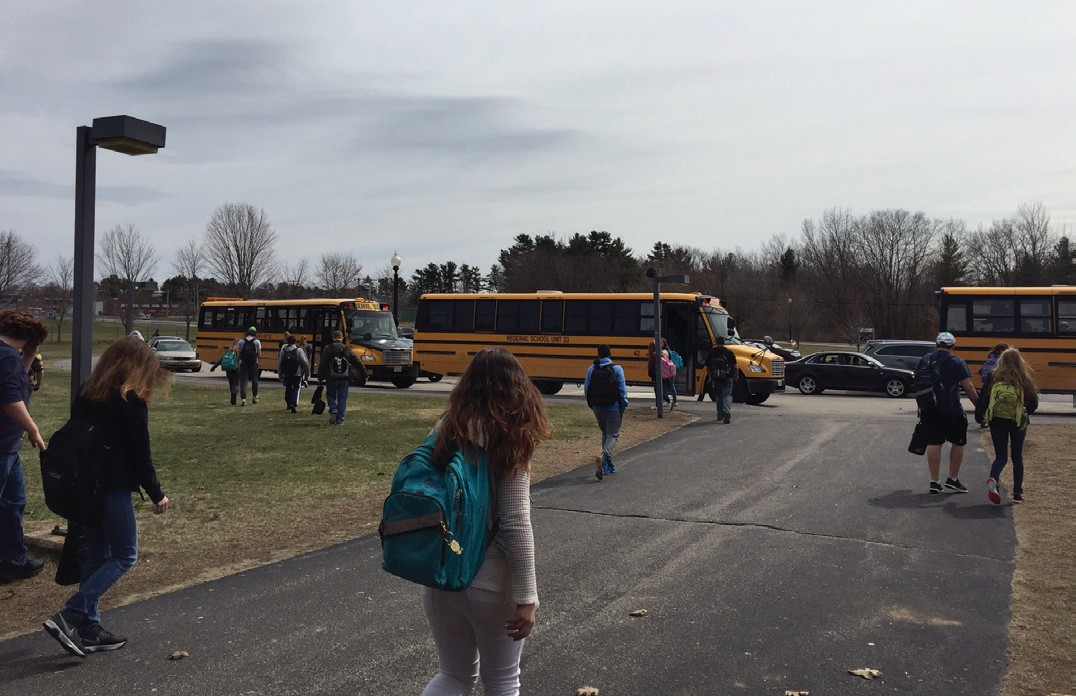 Students at Old Orchard Beach High School leave at the end of the school day on Wednesday.