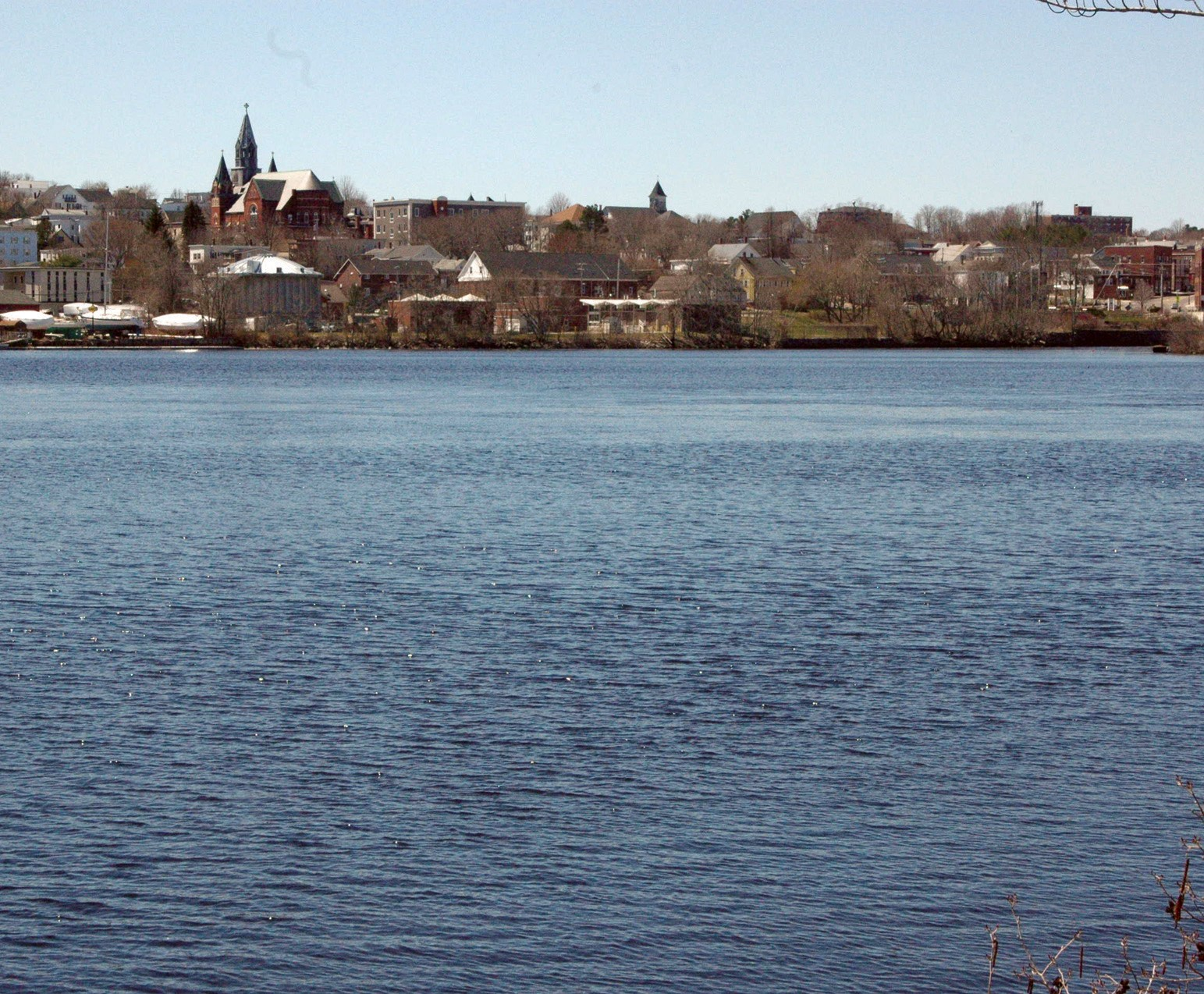 A view of downtown Biddeford, from across the Saco River on Water Street in Saco on Wednesday.