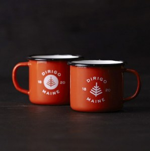 Enamel mugs in the Dirigo line of products developed by Might & Main.