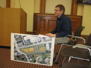 Owens McCullough of Sebago Technics shows Gorham Town Council a concept plan for a five-story building proposed by Great Falls Construction off Railroad Avenue in Gorham.