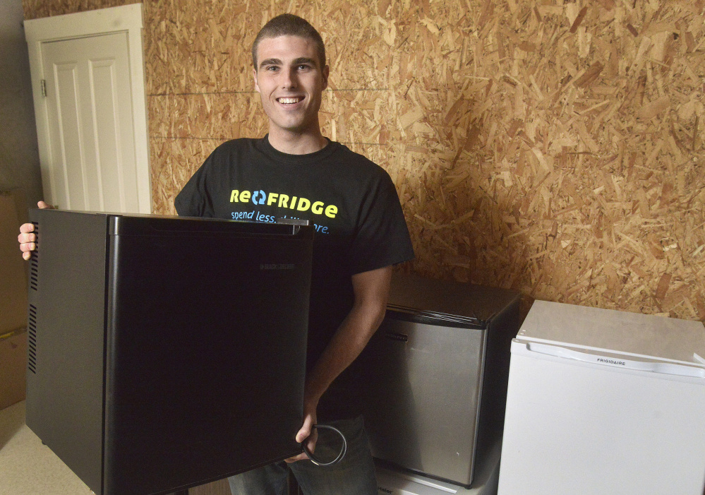 Mitch Newlin of Brunswick, a junior at Bates College in Lewiston, started a business that buys and sells used dorm refrigerators. Re-Fridge now serves 17 colleges and universities.