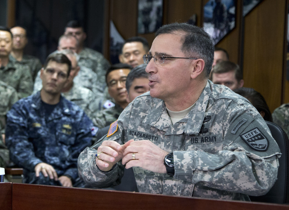 in this April 26, 2014 file photo, U.S. Army Gen. Curtis Scaparrotti speaks at the U.S. Army Garrison Yongsan, South Korea.