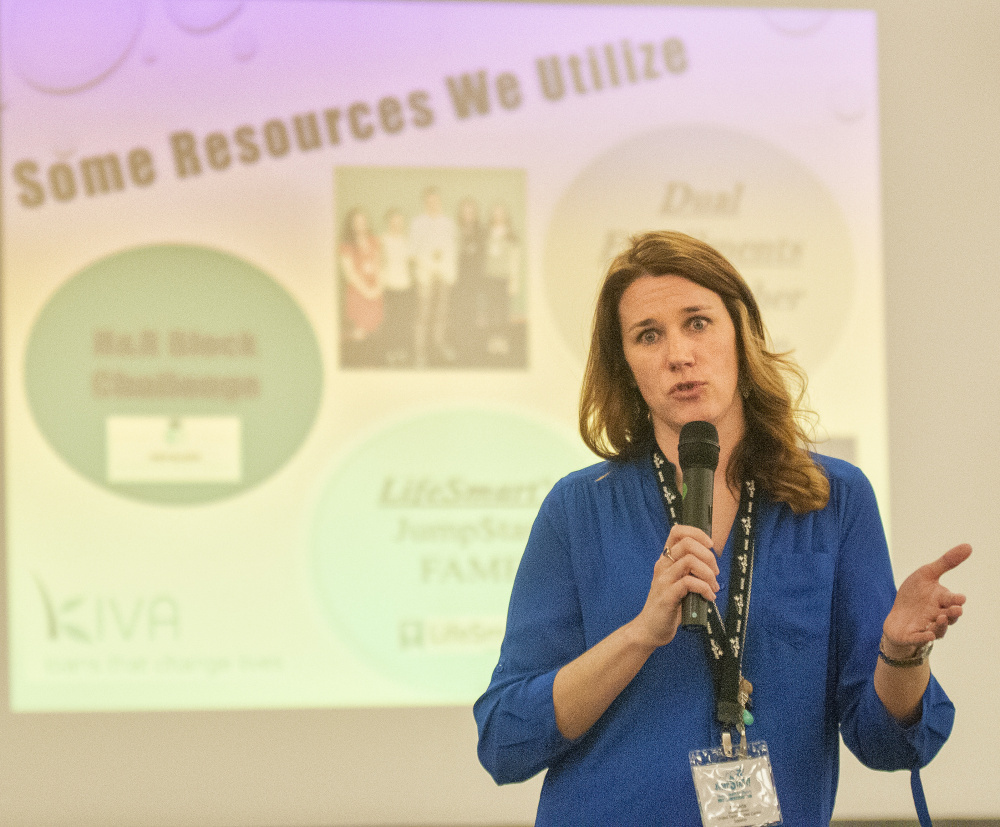 Amanda Peterson, business instructor at United Technologies Center, speaks during a financial educators conference Friday at the Augusta Civic Center.
