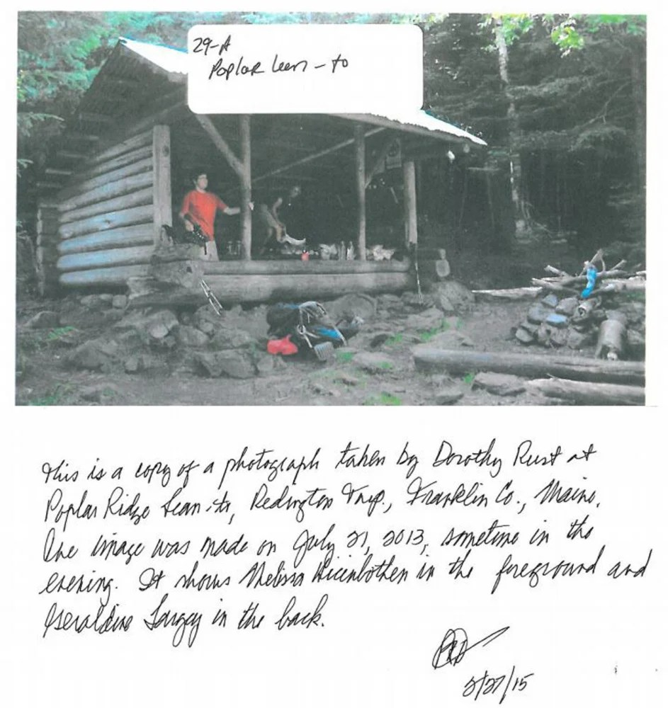 A photo taken by another hiker and included in the Maine Warden Service report on the disappearance of and search for Appalachian Trail hiker Geraldine Largay shows Largay in the back of the Poplar Ridge lean-to in Redington Township the day before she went off the trail. The note about the photo is part of the file.