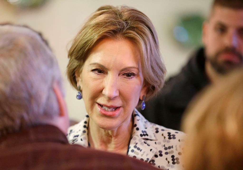 Carly Fiorina, Republican vice presidential candidate, meets with  supporters of presidential candidate, Sen. Ted Cruz, R-Texas, during a campaign stop at Lincoln Square Pancake House, Tuesday in Westfield, Ind. The Associated Press
