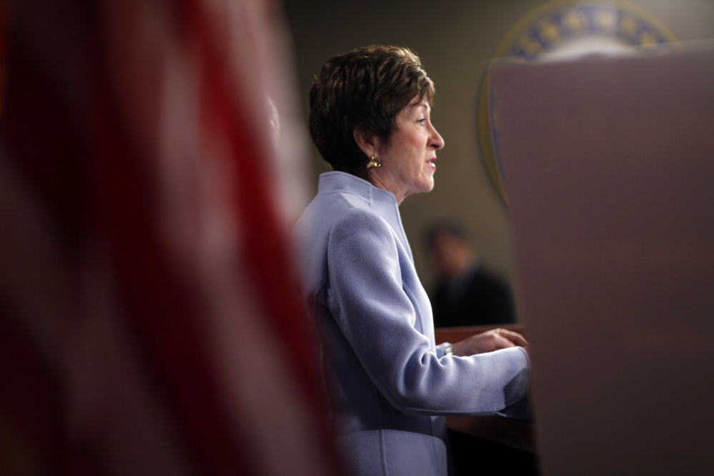 Maine Sen. Susan Collins speaks at a Washington news conference in 2011. The moderate Republican said Tuesday that being asked to support or condemn statements by her party's presumptive nominee for president is not what she wants to be doing – she'd rather be discussing public policy.
