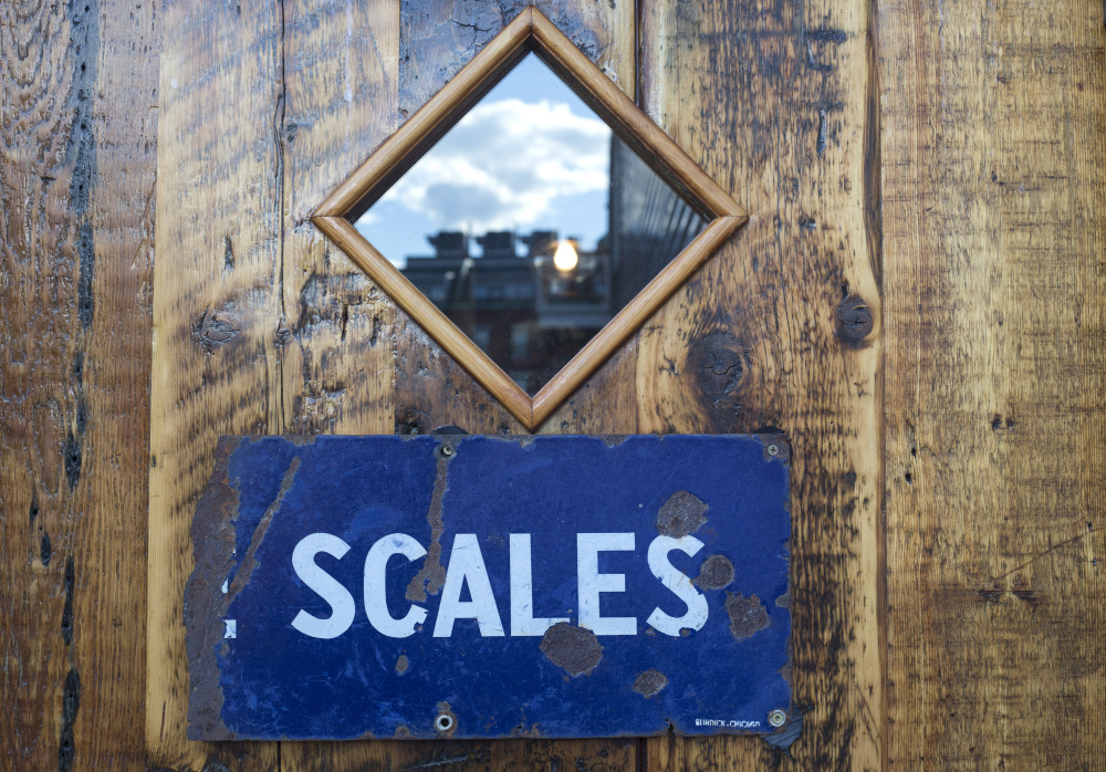 Door at the entrance to Scales in Portland.