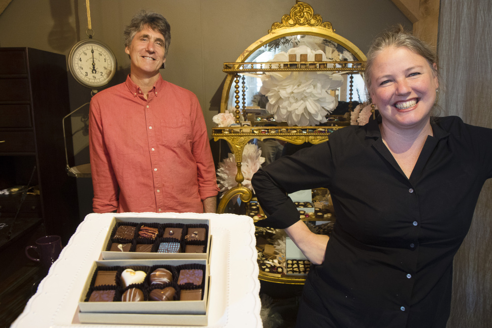 Steve and Kate Shaffer at their Black Dinah Chocolatiers shop in Westbrook. Married for 17 years, they have learned how to succeed as business partners.
