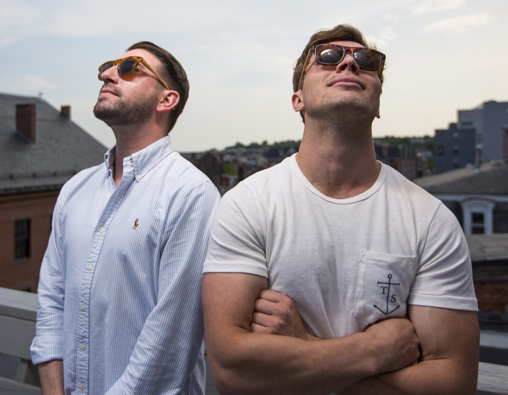 """Daniel Dougherty, left, and John Turner model their Traps Eyewear. """"I loved the idea of telling a story about Maine, and its heritage,"""" Turner said."""