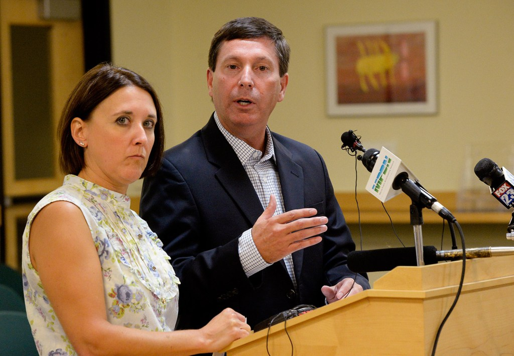 """Reps. Ellie Espling of New Gloucester and Ken Fredette of Newport speak to the media Tuesday night after the House Republican caucus met privately to discuss the comments made recently by Gov. Paul LePage. Fredette said, """"He needs to apologize and that needs to be sincere and that needs to be meaningful and he needs to understand in his heart that what he did was wrong."""" Shawn Patrick Ouellette/Staff Photographer"""