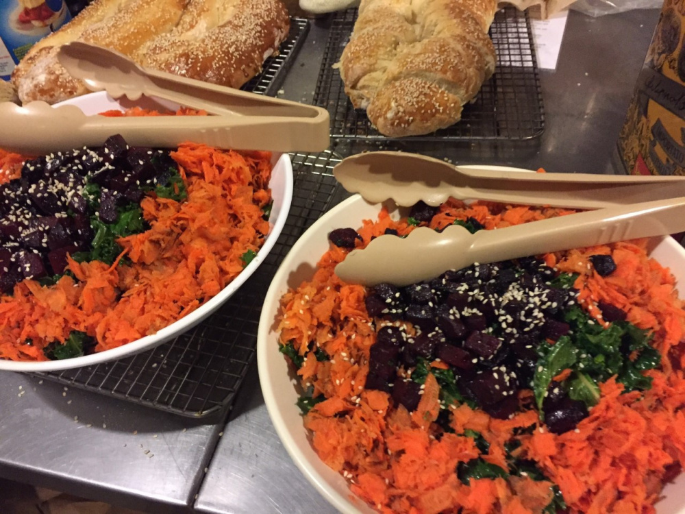 Vegan meals like fresh baked bread and a kale and roasted root vegetable salad are standard at the Maine Huts & Trails lodges in western Maine.