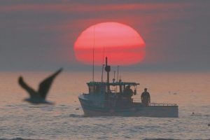 A LOBSTER BOAT heads out to sea at sunrise, off Kennebunkport, in August 2015.
