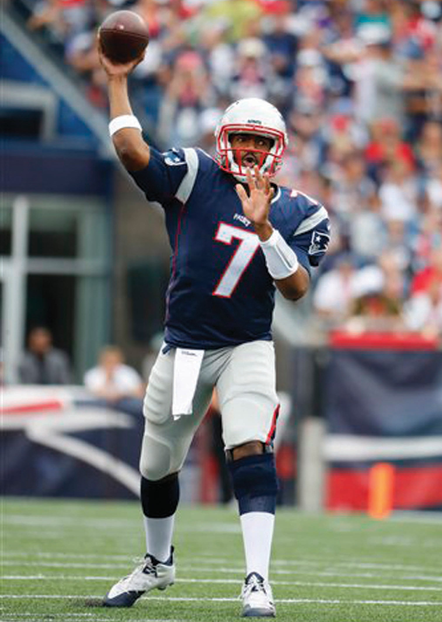 New England Patriots quarterback Jacoby Brissett throws against the Miami Dolphins during a NFL football game at Gillette Stadium in Foxborough, Mass. Sunday, Sept. 18, 2016.