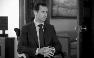 """SYRIAN PRESIDENT BASHAR ASSAD speaks to The Associated Press at the presidential palace in Damascus, Syria. Assad said U.S. airstrikes on Syrian troops in the country's east were """"definitely intentional,"""" lasting for an hour, and blamed the U.S. for the collapse of a cease-fire deal brokered with Russia."""