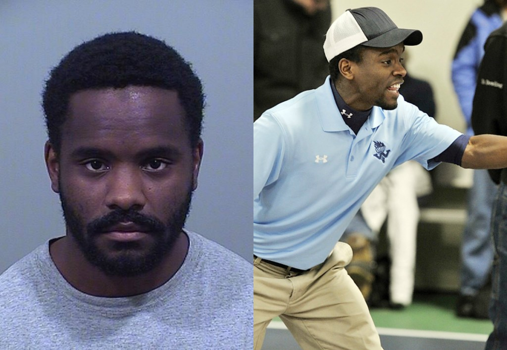 Timothy Even, left, in a police booking photo; right, cheering on his team during a competition in 2012.
