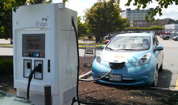 An electric car charging station at Hannaford supermarket in Portland.