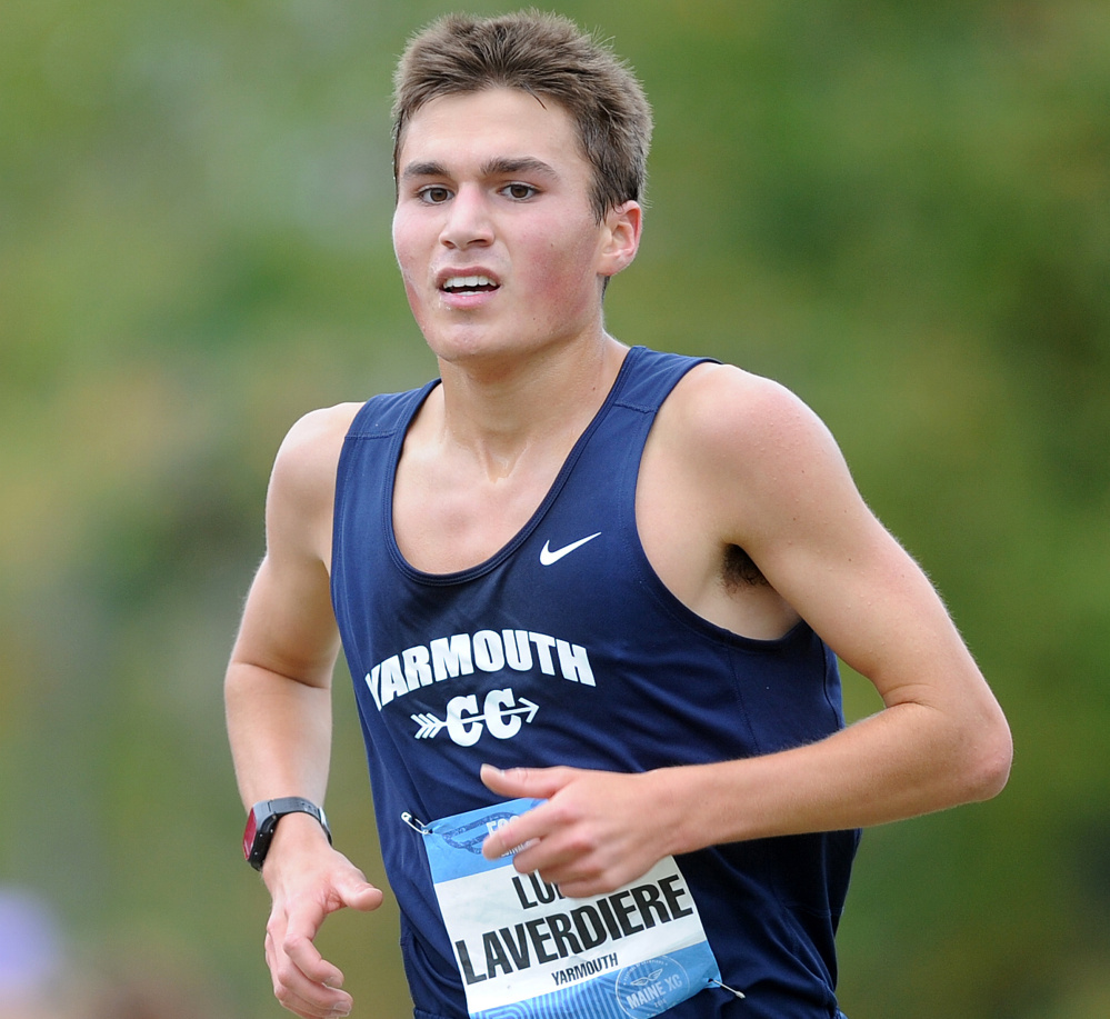 Luke Laverdiere of Yarmouth dominated the boys' race, finishing 15 seconds ahead of anyone else in 15 minutes, 33.84 seconds.