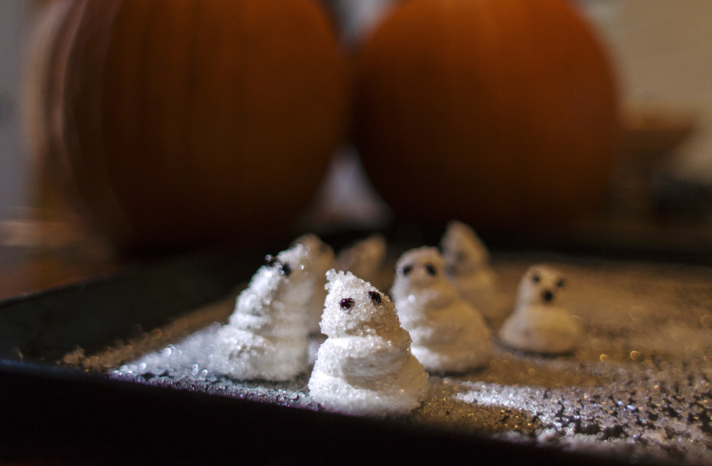 "These marshmallow ghosts were made with ""bean water"" instead of egg whites."
