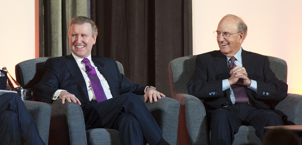 Former Sens. William Cohen and George Mitchell join Susan Collins, Angus King and Olympia Snowe at the Maine State Chamber of Commerce's annual dinner Friday night. John Harwood of CNBC moderated the event.