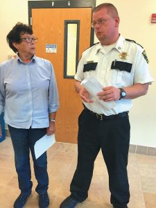 CORRECTIONS Capt. James Bailey fields questions about future operation of Two Bridges Regional Jail after Lincoln and Sagadahoc Multi-county Jail Authority chairwoman Mary Trescot, left, announced Wednesday that Correctional Administrator Mark Westrum has been placed on paid administrative leave.