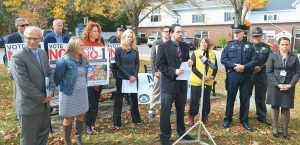 SCOTT GAGNON, of Mainers Protecting Our Youth and Communities, speaks at a Yarmouth press conference on Thursday.