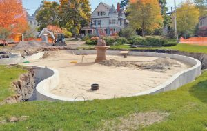 "WORK CONTINUES on renovations to the Zorach Fountain pond in Bath. The project, spearheaded by the nonprofit Friends of the Zorach Fountain, will continue through the winter, weather permitting. The project is expected to be completed in May 2017. The group is working to ""erect frost walls, replace the pond base surface, and add edgings of boulders and plantings to enhance the beauty of the sculpture and its environs,"" said the Friends of the Zorach Fountain in a press release."