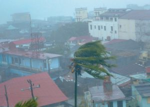 THE HIGH WINDS OF HURRICANE MATTHEW roar over Baracoa, Cuba, Tuesday. The dangerous Category 4 storm blew ashore in Haiti, unloading heavy rain as it swirled on toward a lightly populated part of Cuba and the Bahamas.