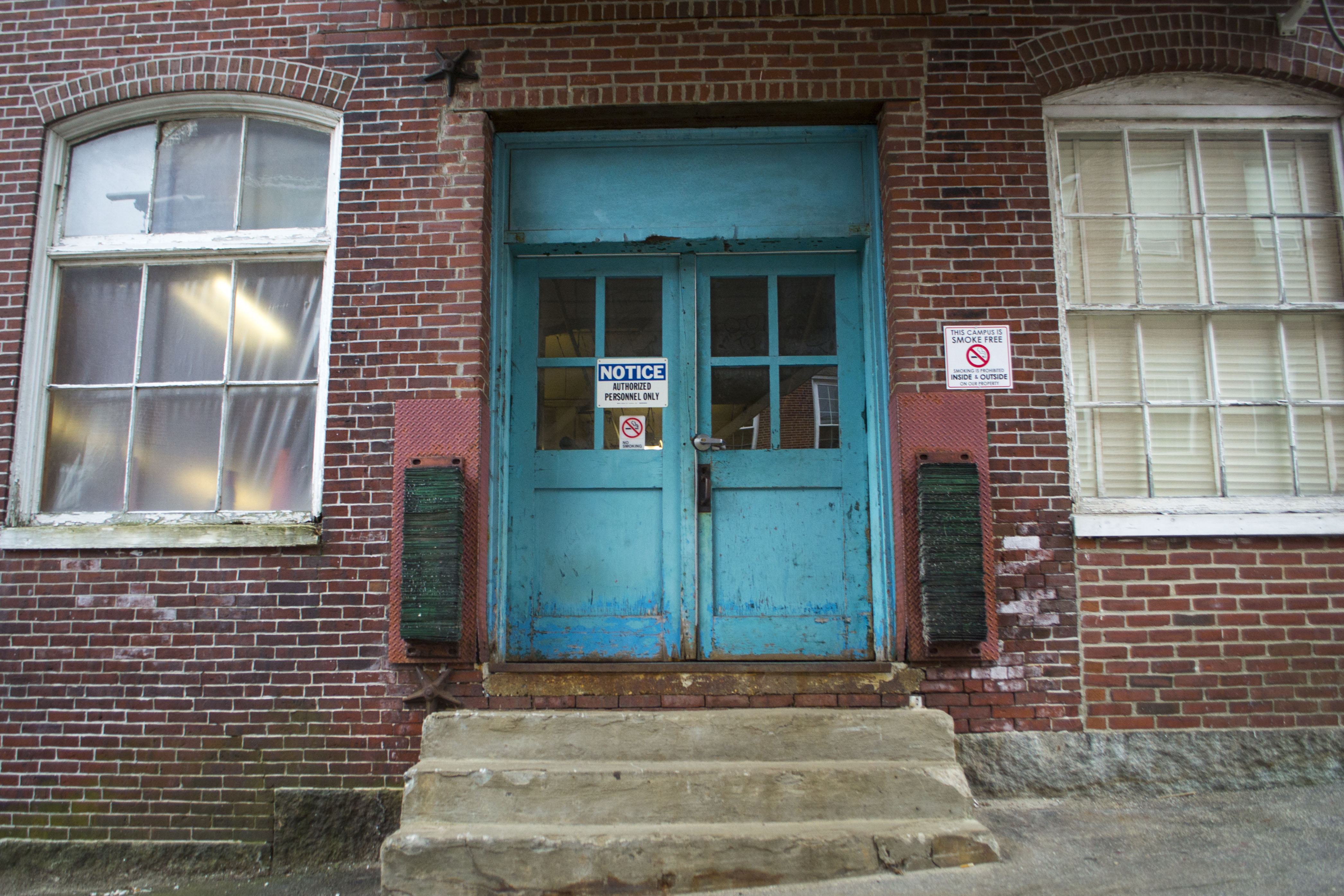 The door to the Pepperell Mill off Laconia Street is both the beginning of a tour through history and its ending point. Inside sits more than 150 years of history. ALAN BENNETT/Journal Tribune