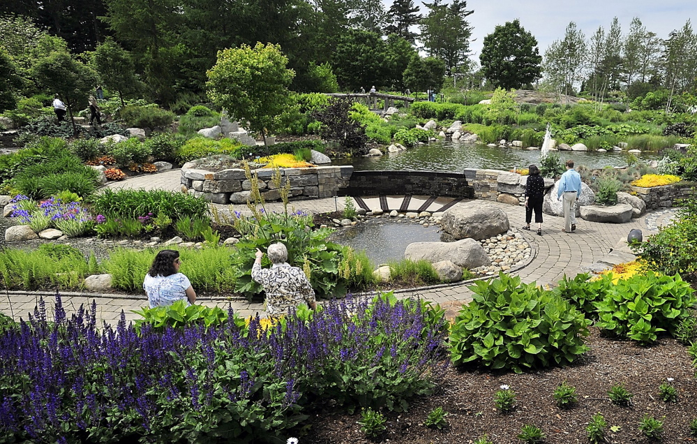 Visitors enjoy the Lerner Garden of the Five Senses at the Coastal Maine Botanical Gardens. A visitor center and conservatory will be added to the grounds in 2017.