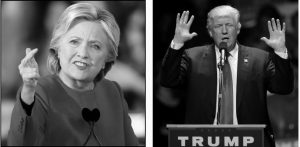 DEMOCRATIC presidential candidate Hillary Clinton, left, speaks during a campaign rally in Raleigh, North Carolina, today. To the right, Republican presidential candidate Donald Trump speaks to a campaign rally, Monday in Manchester, New Hampshire.
