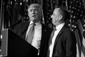 PRESIDENT-ELECT DONALD TRUMP, left, stands with Republican National Committee Chairman Reince Priebus during an election night rally in New York on Nov. 9. Trump on Sunday named Priebus as his White House chief of staff.