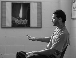 INMATE JOSHUA MEADOR speaks about addiction at Sheridan Correctional Center in Sheridan, Illinois, on Oct. 17. Meador, a recovering heroin addict, hopes to get into a Vivitrol program at Sheridan before his release in January. U.S. prisons are experimenting with the high-priced monthly injection that could help addicted inmates stay off opioids after they are released.