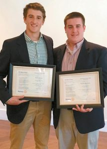 """AARON CARLTON, LEFT, AND STEPHEN BACKMAN each recently received the Brunswick Rotary's """"Service Above Self"""" award exemplifying their strong community service qualities. They are both seniors at Brunswick High School and both are members of the Brunswick High School Varsity Football team. Carlton is in the top 5 percentage of his class, a member of the National Honor Society, active in the Action Team, vice-president of the senior class and a three-season athlete. Backman is active in the Unified Basketball Program and the Action Team, president of the senior class and mentors special ed students at the high school. They are both also involved in the Brunswick Area Youth Football League and often are seen there at the end of their school day after classes and their own football practice assisting the junior high football players."""