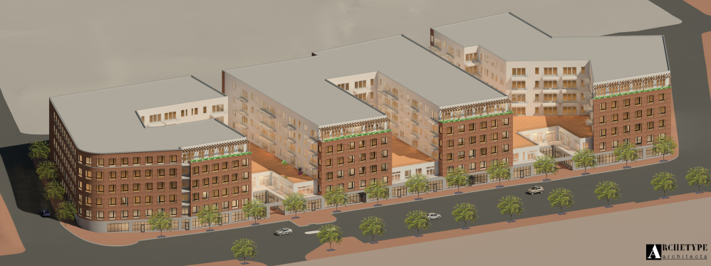 Artist's renderings for the 2.5-acre Commercial Street parcel being developed by Reger Dasco Properties show three six-story buildings. The application calls for more than 257,000 square feet of residential space built atop a parking garage that can accommodate 380 vehicles.