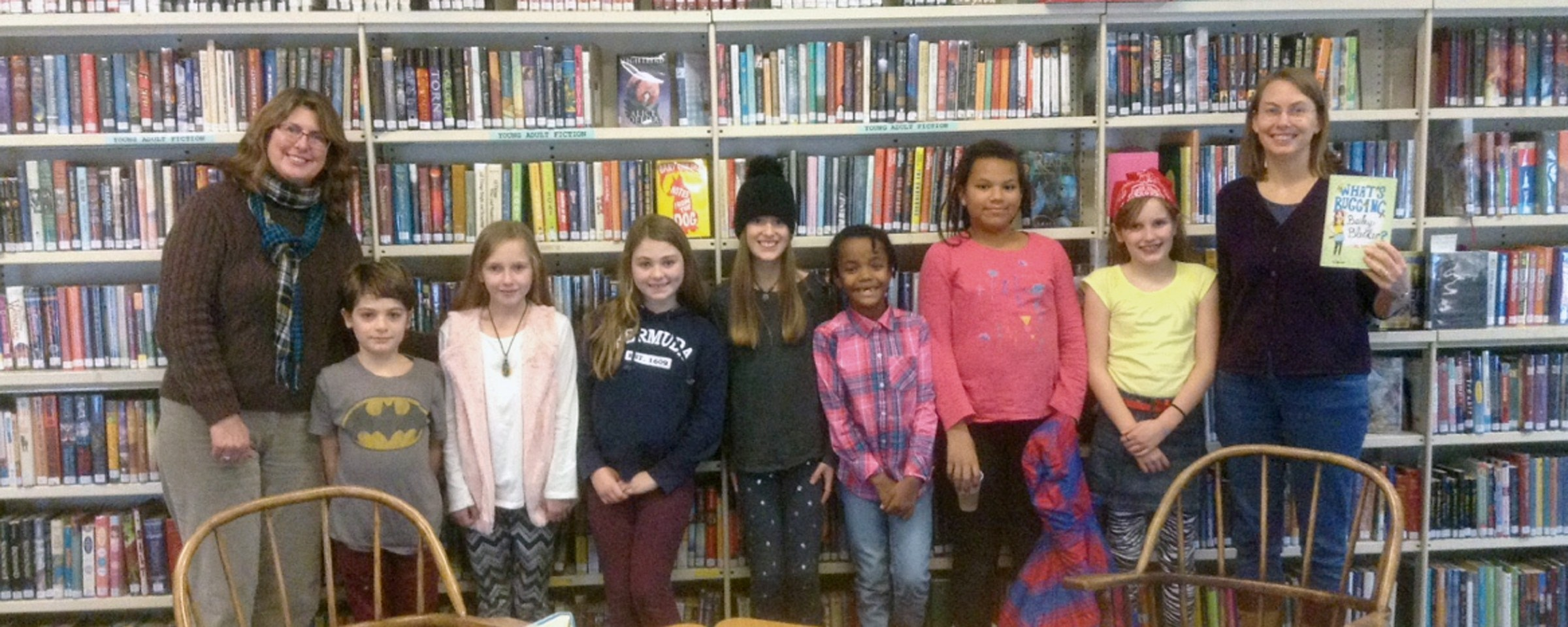 Terri Bauld, Graves Memorial Library children's librarian, left, joined students Ptolemy Tyler, Morgan Rogers, Elsa Liberatore, Isabel Esch, Amara Roberts, Riley Roberts, Annabelle Wainman in meeting author Gail Donovan, right. //SUBMITTED PHOTO/Cou rtes y of She lley Wiggleswo rth
