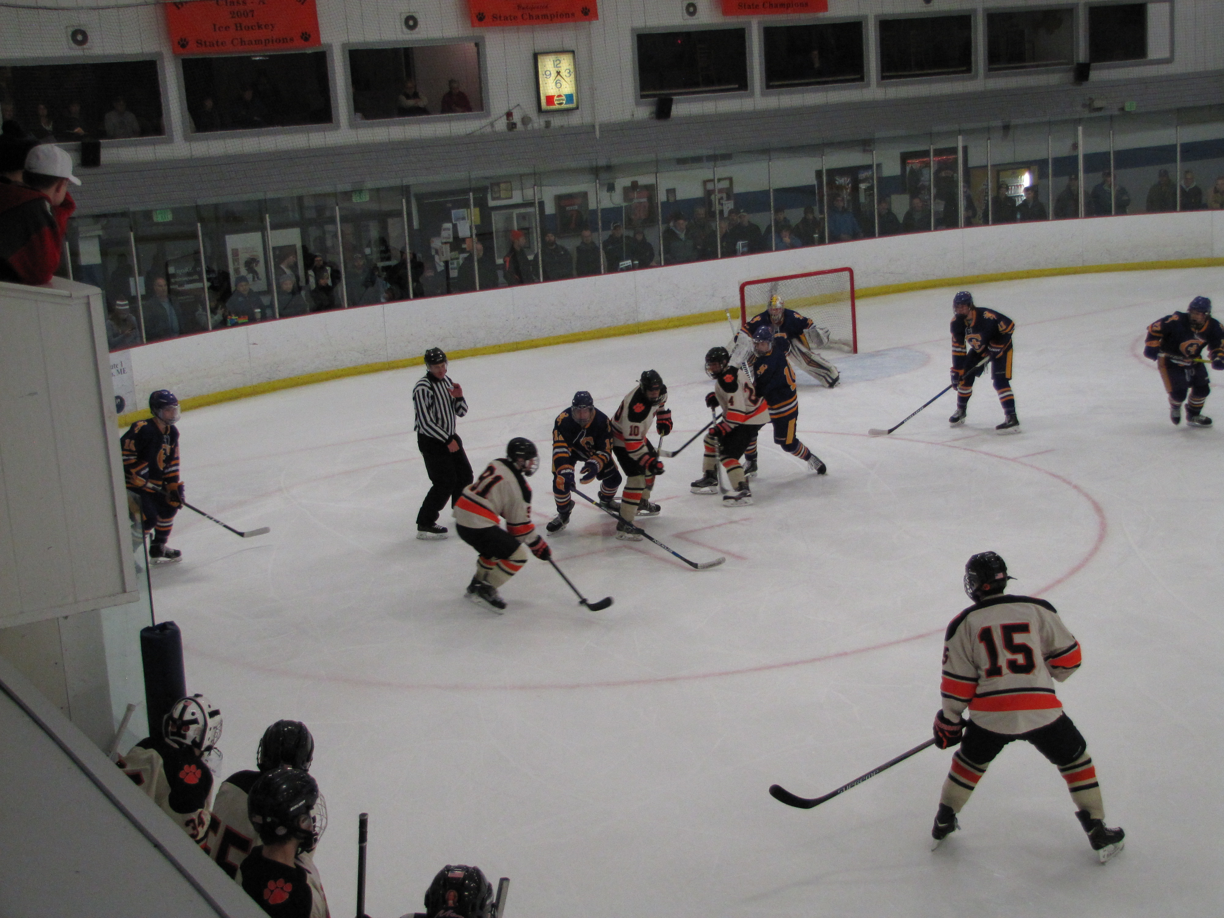 TAYLOR MORRISON/JOURNAL TRIBUNEThe Biddeford High School varsity ice hockey team face Cheverus at home, Tuesday, Dec. 20, 2016. Biddeford won 3-2 and earned every point through 45 contentious minutes at Biddeford Ice Arena.