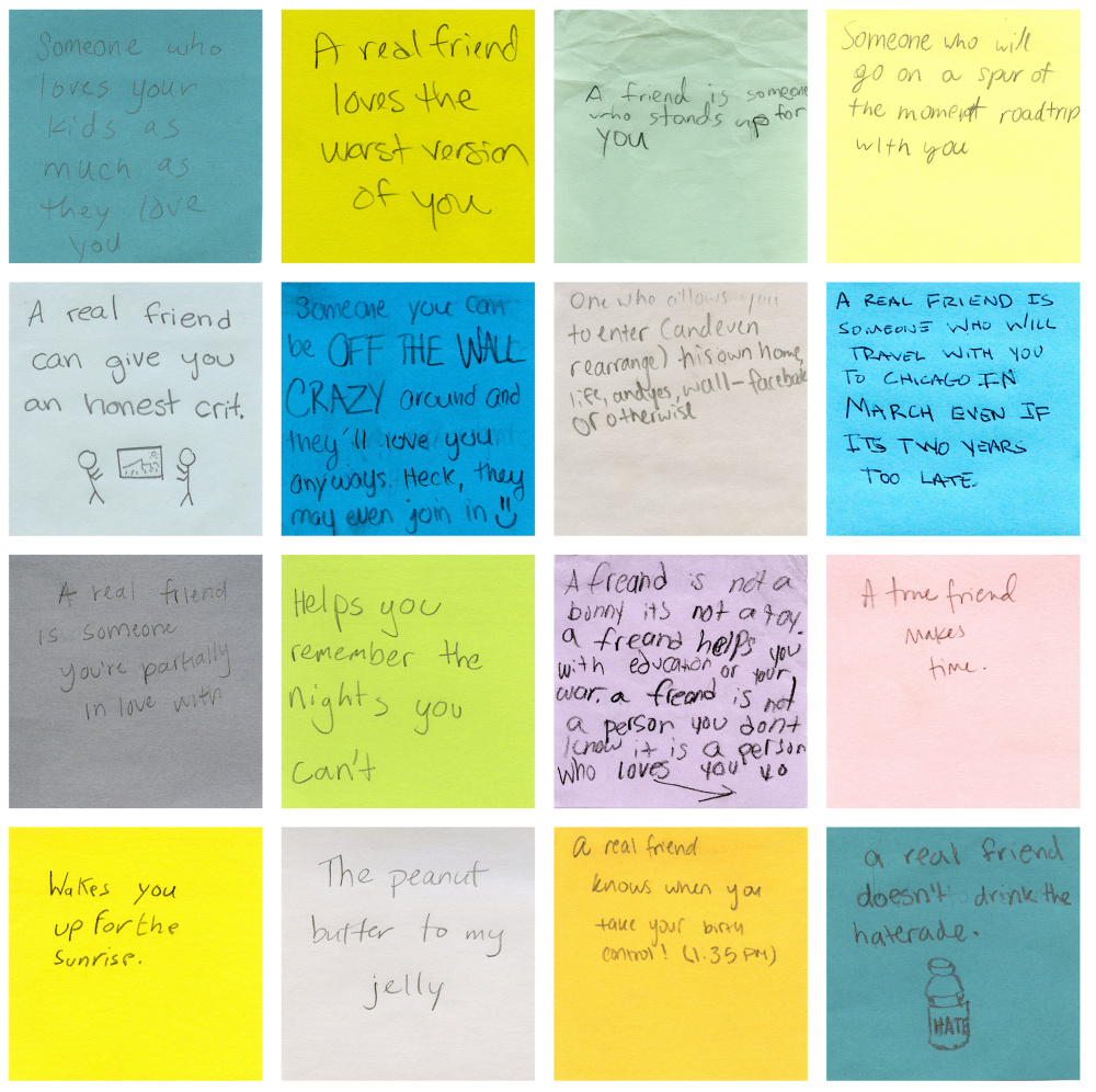 "Post-it notes on which people answered Hollander's question, ""What is a real friend?"" are part of the exhibition."