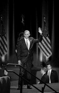 PRESIDENT BARACK OBAMA waves as he arrives to give his presidential farewell address at McCormick Place in Chicago Tuesday,.