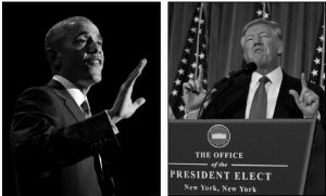 PRESIDENT BARACK OBAMA speaks during his farewell address at McCormick Place in Chicago on Jan. 10 in the left photo. To the right, President-elect Donald Trump speaks during a news conference in the lobby of Trump Tower in New York on Jan. 11.