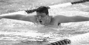 MORSE'S KEVIN MCCOY competes in the 100-yard butterfly in a KVAC meet at the Bath Area Family YMCA on Friday.