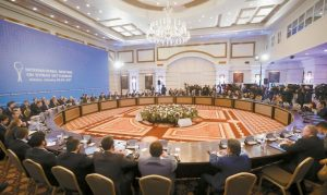 DELEGATIONS OF RUSSIA, Iran and Turkey hold talks on Syrian peace at a hotel in Astana, Kazakhstan, today. The talks are the latest attempt to forge a political settlement to end a war that has by most estimates killed more than 400,000 people since March 2011 and displaced more than half the country's population.