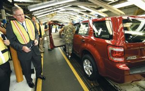 MISSOURI GOV. JAY NIXON tours Ford's Kansas City Assembly Plant in Claycomo in 2009. During his administration, Nixon has highlighted business deals that are cumulatively projected to create about 48,000 jobs in exchange for as much as $2 billion of state incentives. As he prepares to leave office, fewer than half of those jobs have materialized so far and the state has paid out less than one-tenth of the potential incentives.