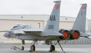 MASSACHUSETTS AIR NATIONAL GUARD F-15C fighter aircraft sits near a hangar at Barnes Air National Guard Base, in Westfield, Mass. in 2014 A 14-yearold Air National Guard proposal could be considered in 2017 that would allow the twin-engine fighters from Massachusetts to fly as low as 500 feet along a corridor in western Maine and the northern tip of New Hampshire.