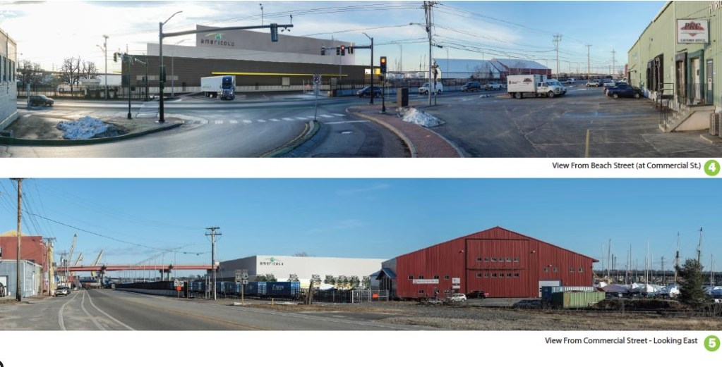 Though not a final design, these sketches show what a proposed Americold warehouse on Portland's eastern waterfront might look like. The top image depicts a view from Beach Street and the bottom shows what it could look like from Commercial Street.